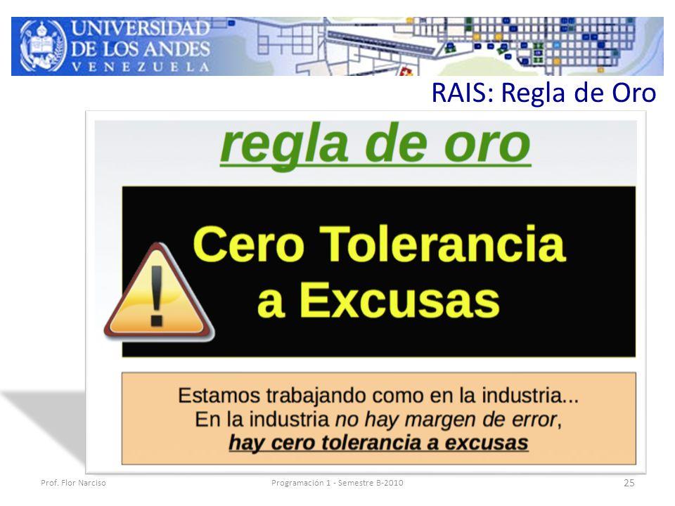 RAIS: Regla de Oro Prof. Flor NarcisoProgramación 1 - Semestre B-2010 25