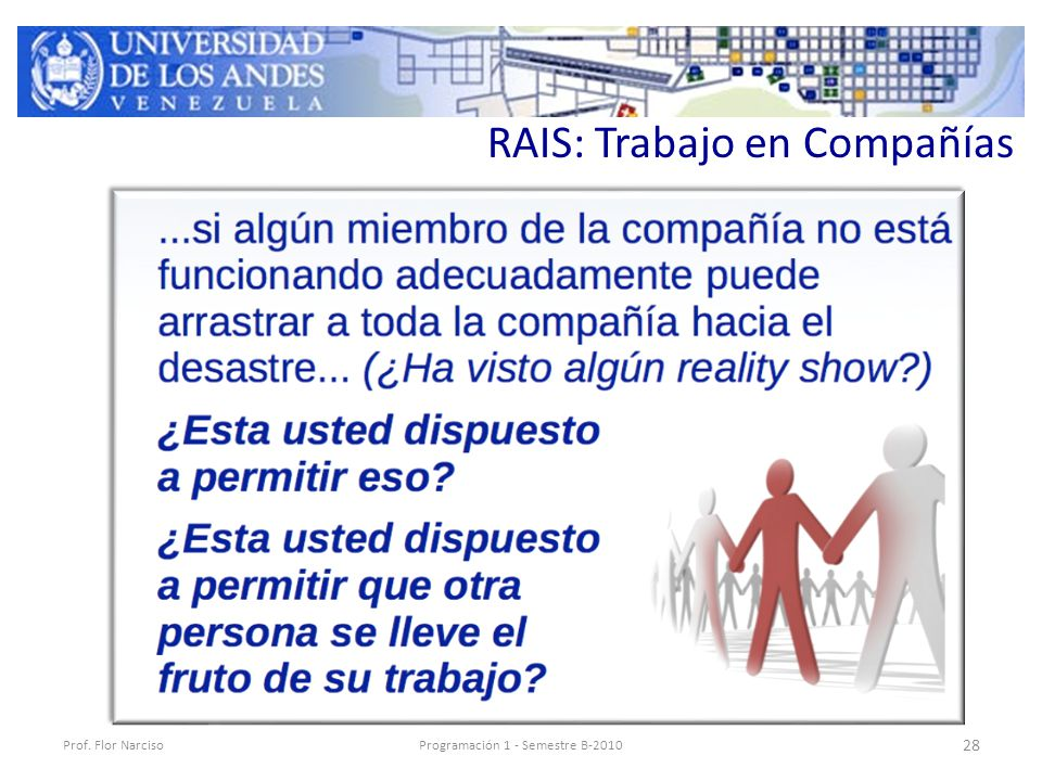 RAIS: Trabajo en Compañías Prof. Flor NarcisoProgramación 1 - Semestre B-2010 28