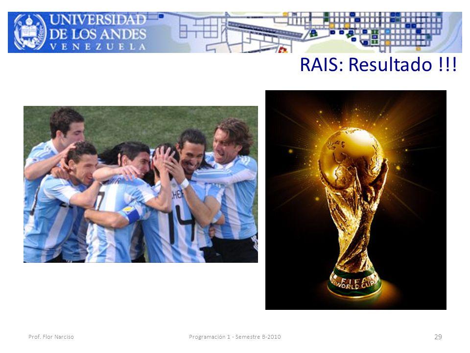 RAIS: Resultado !!! Prof. Flor NarcisoProgramación 1 - Semestre B-2010 29