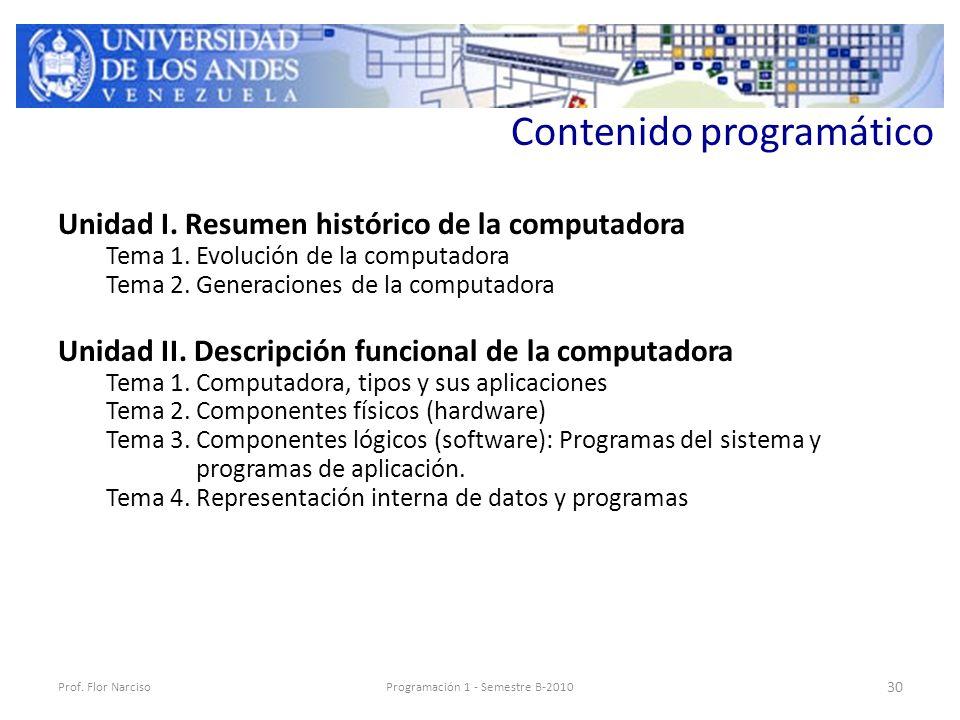 Contenido programático Unidad I. Resumen histórico de la computadora Tema 1.