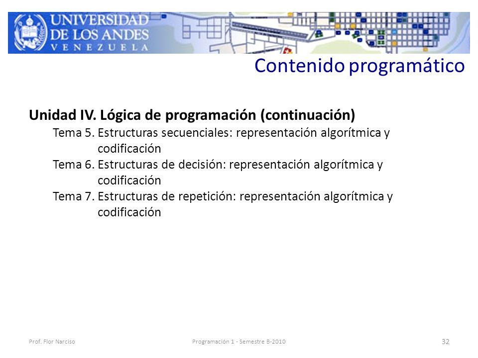 Contenido programático Unidad IV. Lógica de programación (continuación) Tema 5.