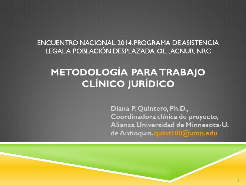 ENCUENTRO NACIONAL. 2014. PROGRAMA DE ASISTENCIA LEGAL A POBLACIÓN DESPLAZADA.