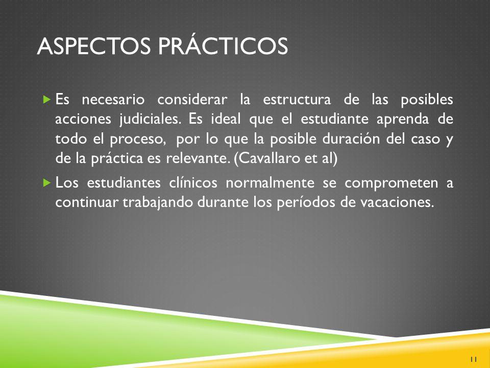 ASPECTOS PRÁCTICOS  Es necesario considerar la estructura de las posibles acciones judiciales.