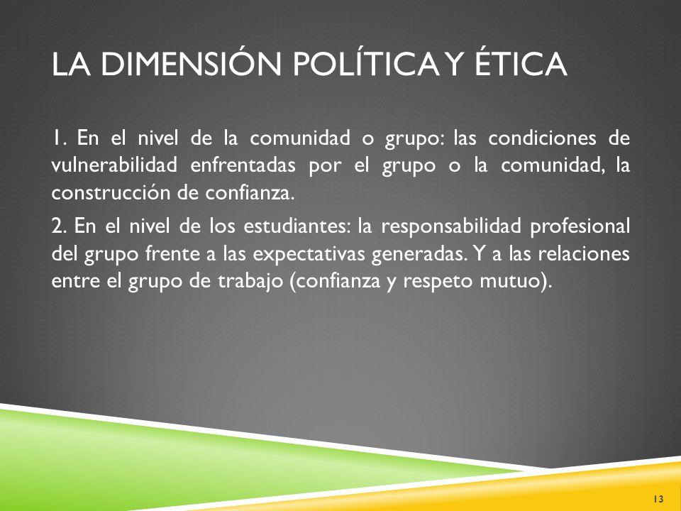 LA DIMENSIÓN POLÍTICA Y ÉTICA 1.