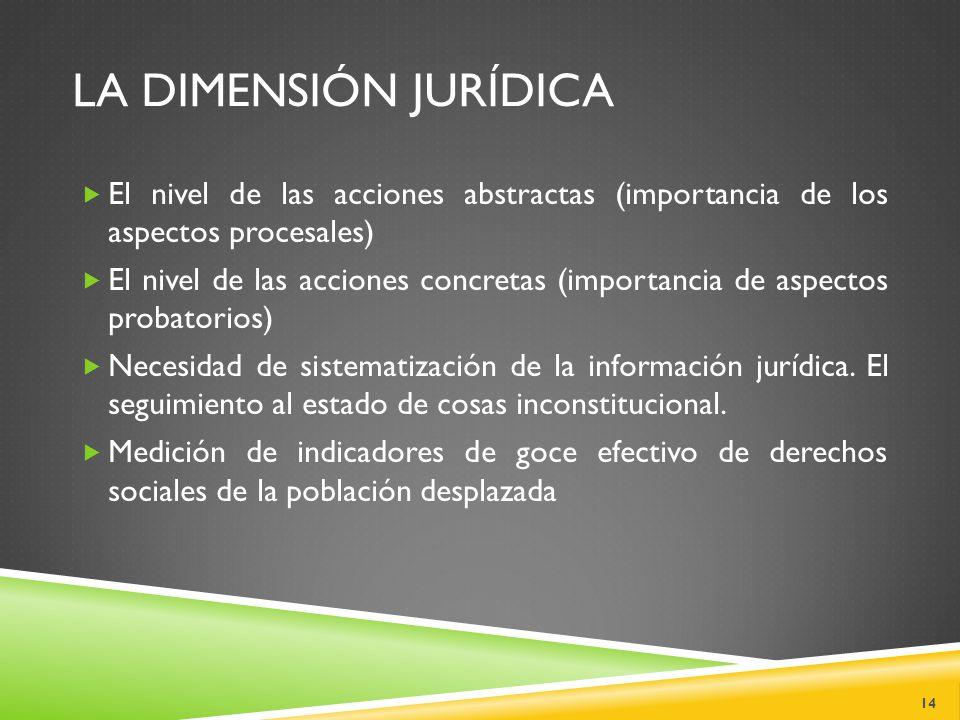 LA DIMENSIÓN JURÍDICA  El nivel de las acciones abstractas (importancia de los aspectos procesales)  El nivel de las acciones concretas (importancia de aspectos probatorios)  Necesidad de sistematización de la información jurídica.
