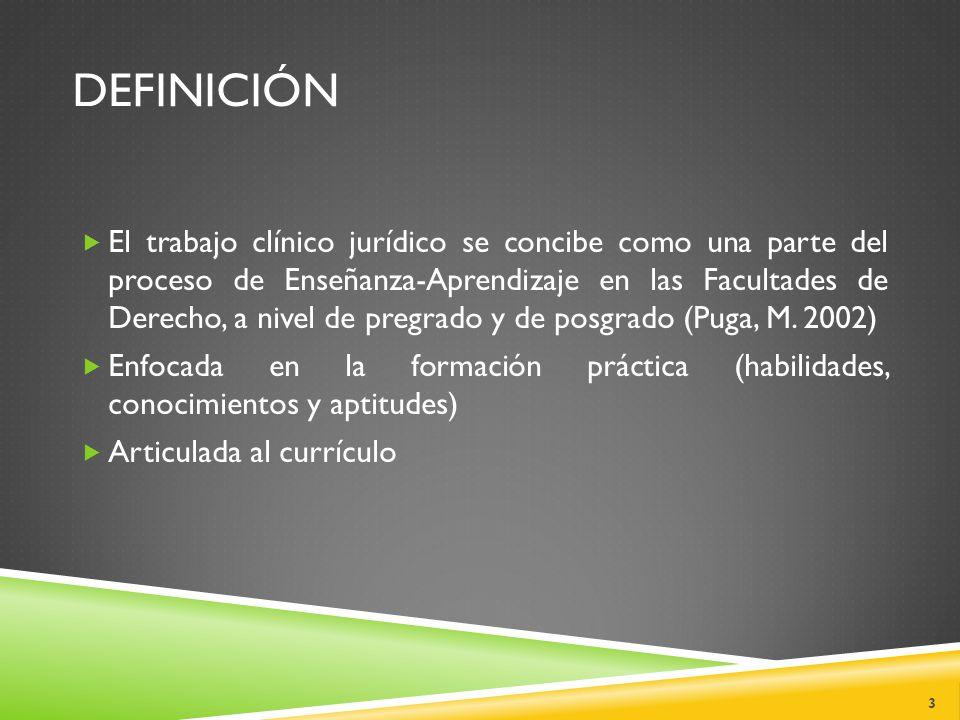 DEFINICIÓN  El trabajo clínico jurídico se concibe como una parte del proceso de Enseñanza-Aprendizaje en las Facultades de Derecho, a nivel de pregrado y de posgrado (Puga, M.