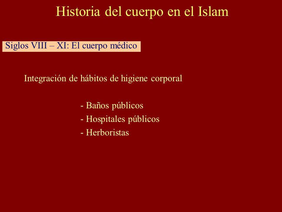 Integración de hábitos de higiene corporal - Baños públicos - Hospitales públicos - Herboristas Historia del cuerpo en el Islam Siglos VIII – XI: El cuerpo médico