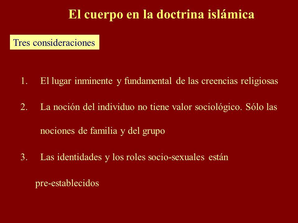 El cuerpo en la doctrina islámica 1.El lugar inminente y fundamental de las creencias religiosas 2.La noción del individuo no tiene valor sociológico.