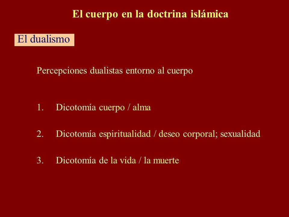 Percepciones dualistas entorno al cuerpo 1.Dicotomía cuerpo / alma 2.Dicotomía espiritualidad / deseo corporal; sexualidad 3.Dicotomía de la vida / la muerte El cuerpo en la doctrina islámica El dualismo