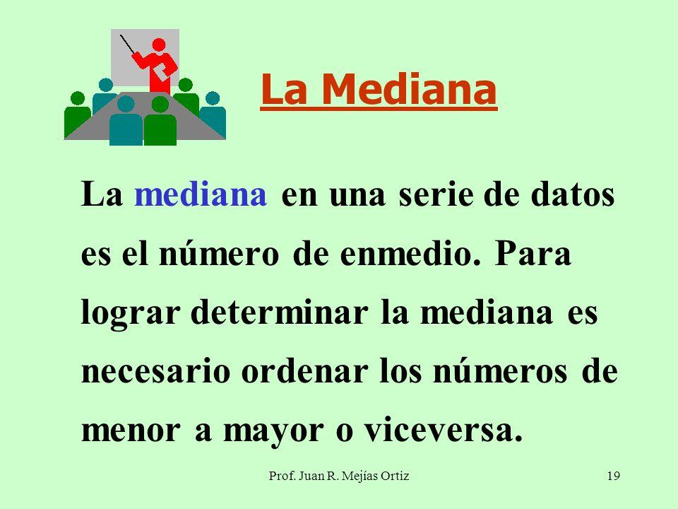 Prof. Juan R. Mejías Ortiz19 La Mediana La mediana en una serie de datos es el número de enmedio.