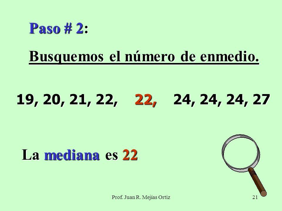 Prof. Juan R. Mejías Ortiz21 Paso # 2: Busquemos el número de enmedio.