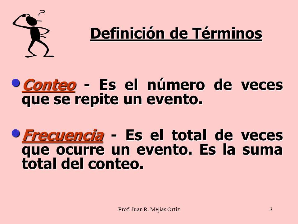 Prof. Juan R. Mejías Ortiz3 Conteo - Es el número de veces que se repite un evento.