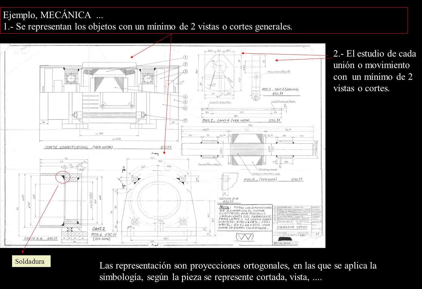 Ejemplo, MECÁNICA... 1.- Se representan los objetos con un mínimo de 2 vistas o cortes generales.