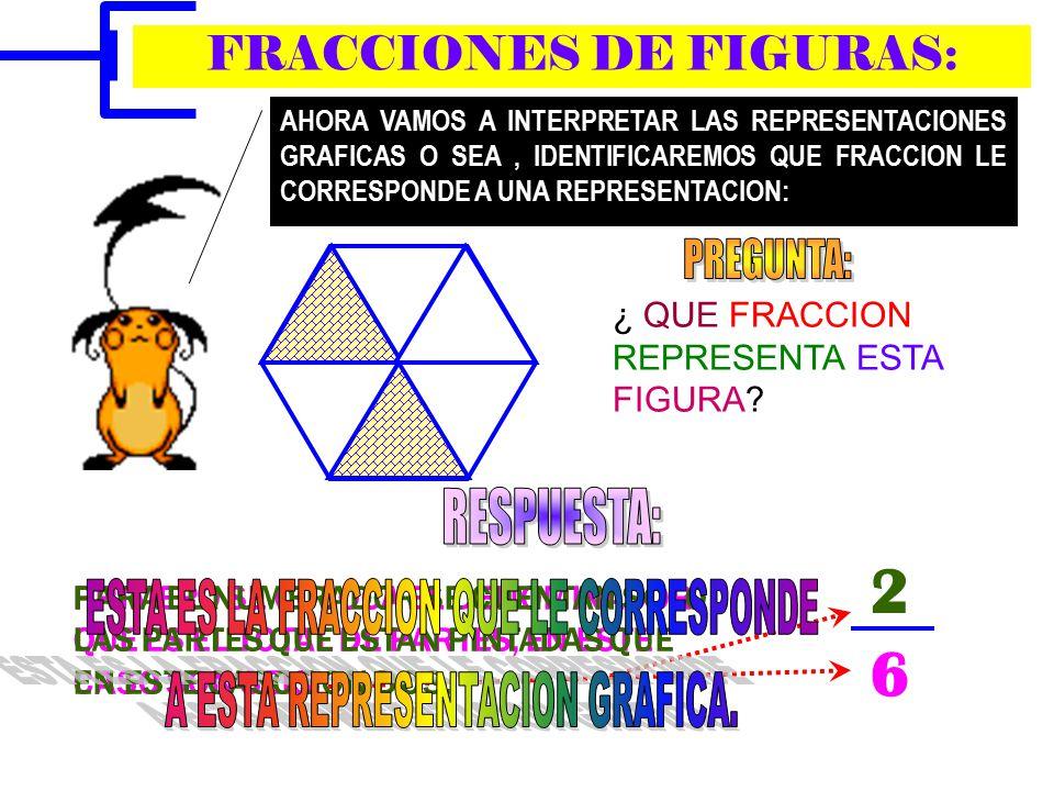 EJERCICIOS: CORRIENDO REPRESENTEN EN LAS FIGURAS LAS FRACCIONES INDICADAS: 3 4 3 6 2 4 1 2 1 3 4 5 3 3 2 3