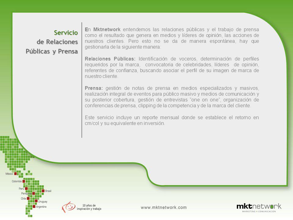 Servicio de Relaciones Públicas y Prensa E En Mktnetwork entendemos las relaciones públicas y el trabajo de prensa como el resultado que genera en medios y líderes de opinión, las acciones de nuestros clientes.
