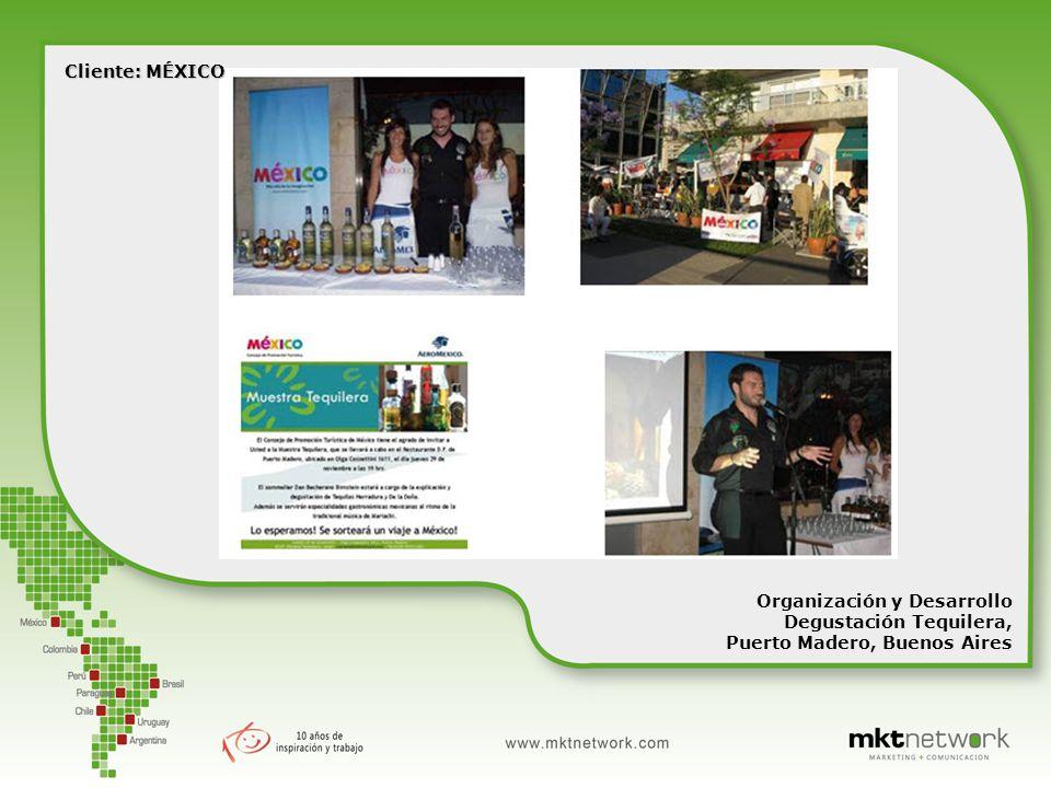 Organización y Desarrollo Degustación Tequilera, Puerto Madero, Buenos Aires Cliente: MÉXICO