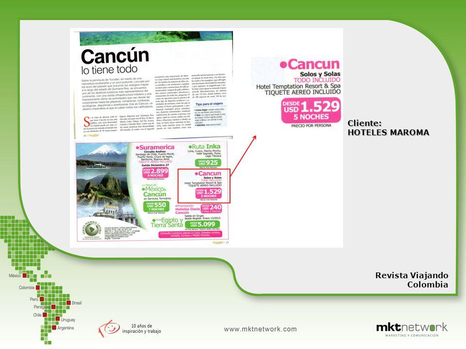 Cliente: HOTELES MAROMA Revista Viajando Colombia