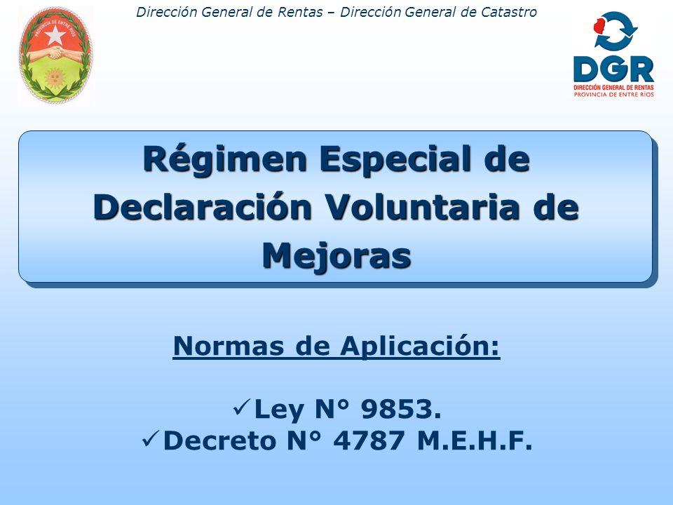 Dirección General de Rentas – Dirección General de Catastro Régimen Especial de Declaración Voluntaria de Mejoras Normas de Aplicación: Ley N° 9853.