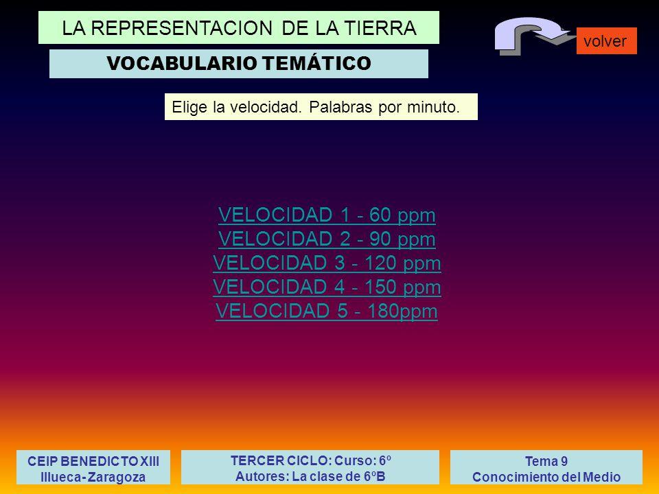 LA REPRESENTACION DE LA TIERRA volver Tema 9 Conocimiento del Medio CEIP BENEDICTO XIII Illueca- Zaragoza TERCER CICLO: Curso: 6º Autores: La clase de 6ºB VELOCIDAD 1 - 60 ppm VELOCIDAD 2 - 90 ppm VELOCIDAD 3 - 120 ppm VELOCIDAD 4 - 150 ppm VELOCIDAD 5 - 180ppm Elige la velocidad.