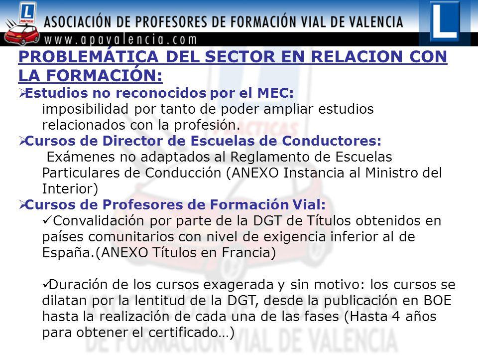 PROBLEMÁTICA DEL SECTOR EN RELACION CON LA FORMACIÓN:  Estudios no reconocidos por el MEC: imposibilidad por tanto de poder ampliar estudios relacionados con la profesión.