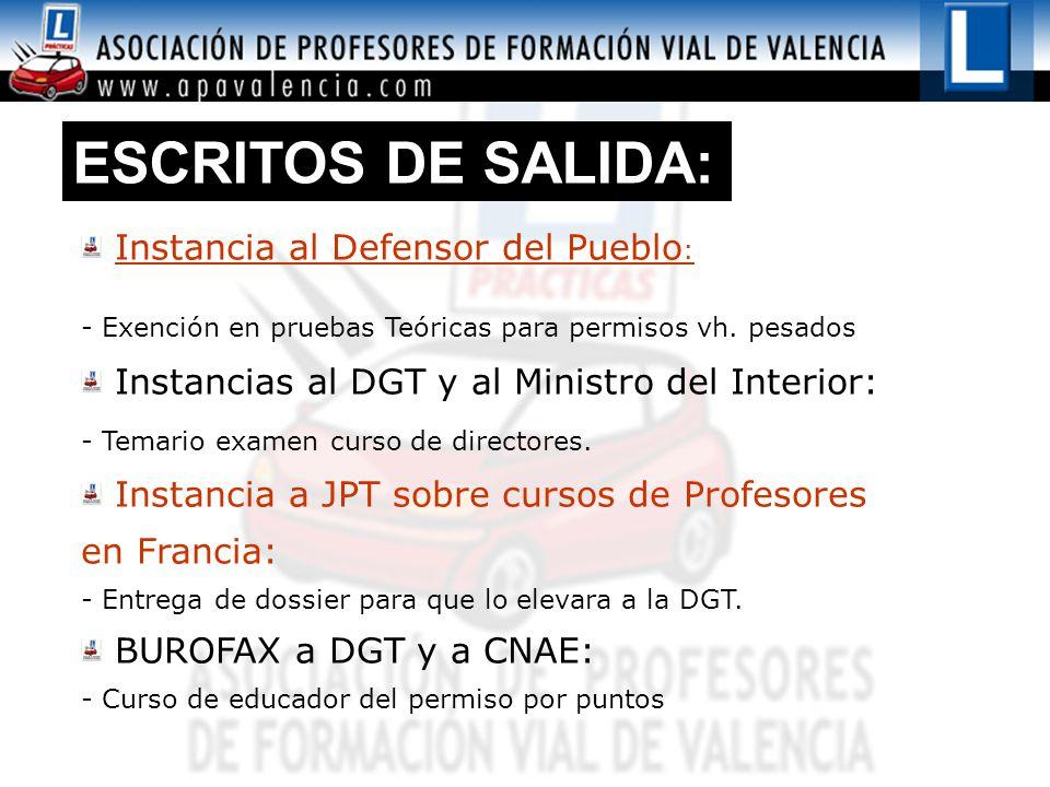 ESCRITOS DE SALIDA: Instancia al Defensor del Pueblo : - Exención en pruebas Teóricas para permisos vh.