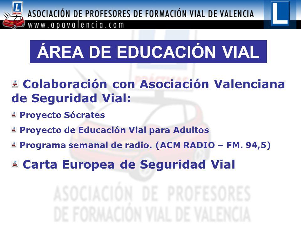 ÁREA DE EDUCACIÓN VIAL Colaboración con Asociación Valenciana de Seguridad Vial: Proyecto Sócrates Proyecto de Educación Vial para Adultos Programa semanal de radio.