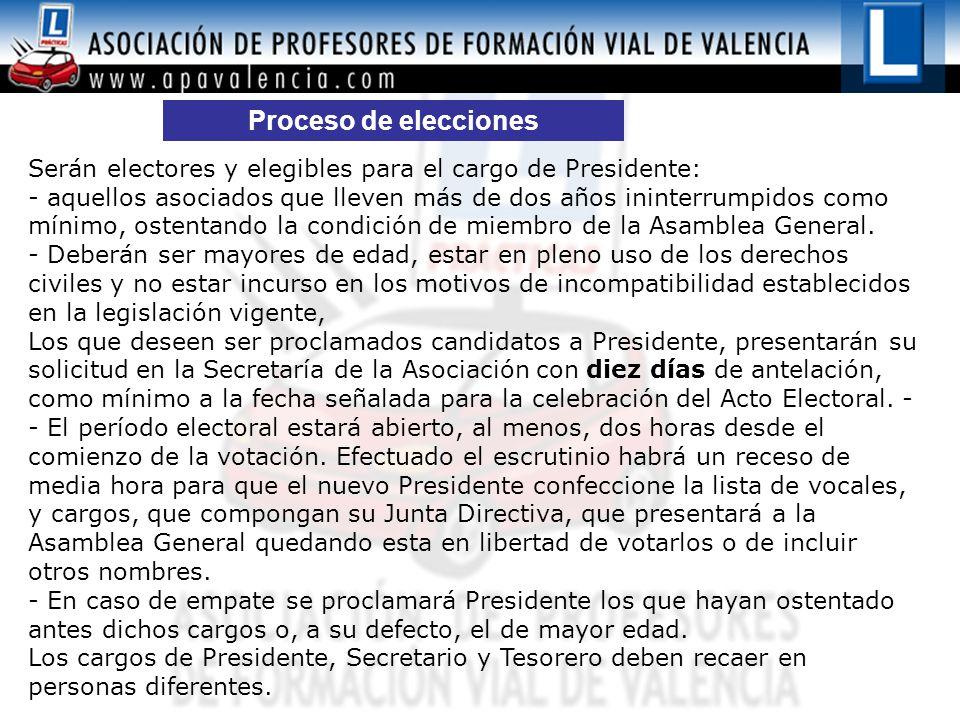 Proceso de elecciones Serán electores y elegibles para el cargo de Presidente: - aquellos asociados que lleven más de dos años ininterrumpidos como mínimo, ostentando la condición de miembro de la Asamblea General.