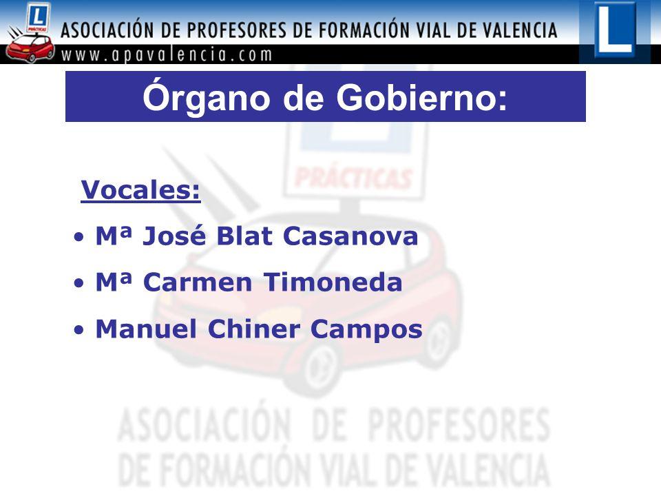 Órgano de Gobierno: Vocales: Mª José Blat Casanova Mª Carmen Timoneda Manuel Chiner Campos