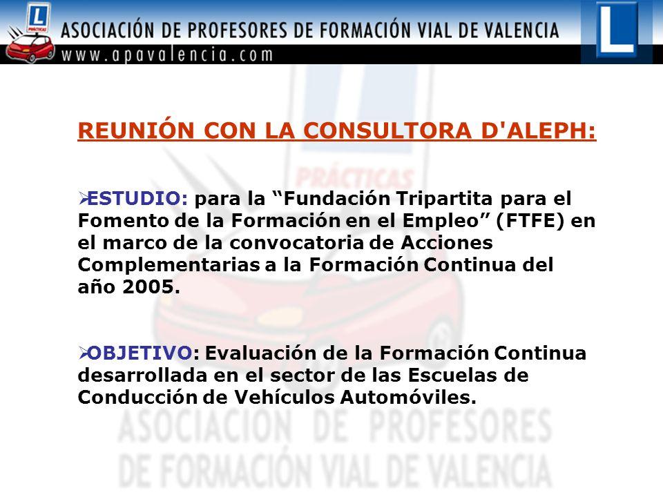 REUNIÓN CON LA CONSULTORA D ALEPH:  ESTUDIO: para la Fundación Tripartita para el Fomento de la Formación en el Empleo (FTFE) en el marco de la convocatoria de Acciones Complementarias a la Formación Continua del año 2005.