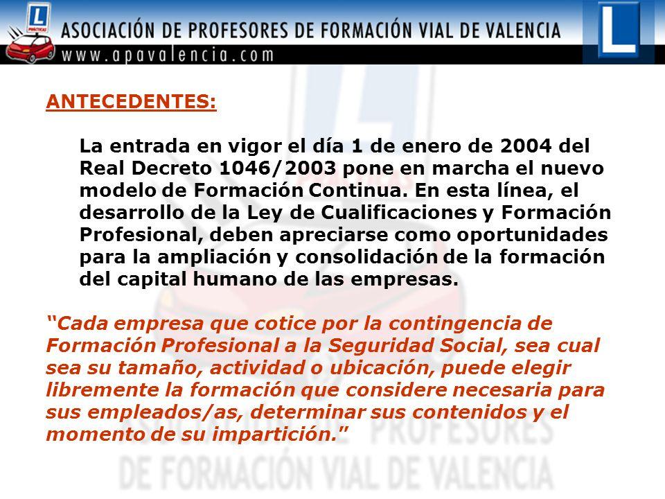 ANTECEDENTES: La entrada en vigor el día 1 de enero de 2004 del Real Decreto 1046/2003 pone en marcha el nuevo modelo de Formación Continua.