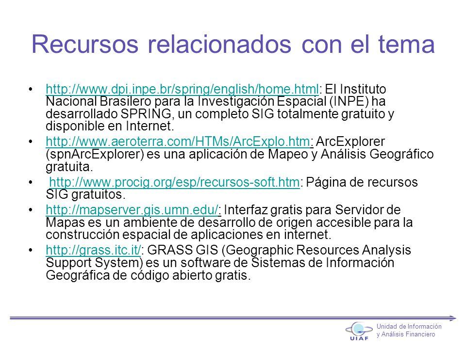 Recursos relacionados con el tema http://www.dpi.inpe.br/spring/english/home.html: El Instituto Nacional Brasilero para la Investigación Espacial (INPE) ha desarrollado SPRING, un completo SIG totalmente gratuito y disponible en Internet.http://www.dpi.inpe.br/spring/english/home.html http://www.aeroterra.com/HTMs/ArcExplo.htm: ArcExplorer (spnArcExplorer) es una aplicación de Mapeo y Análisis Geográfico gratuita.http://www.aeroterra.com/HTMs/ArcExplo.htm http://www.procig.org/esp/recursos-soft.htm: Página de recursos SIG gratuitos.http://www.procig.org/esp/recursos-soft.htm http://mapserver.gis.umn.edu/: Interfaz gratis para Servidor de Mapas es un ambiente de desarrollo de origen accesible para la construcción espacial de aplicaciones en internet.http://mapserver.gis.umn.edu/ http://grass.itc.it/: GRASS GIS (Geographic Resources Analysis Support System) es un software de Sistemas de Información Geográfica de código abierto gratis.http://grass.itc.it/ Unidad de Información y Análisis Financiero