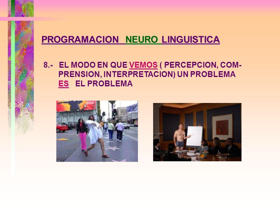 PROGRAMACION NEURO LINGUISTICA 7.- NO HAY PERSONAS SIN RECURSOS, SINO ESTADOS SIN RECURSOS, REFLEJO DE PARADIGMAS FACTIBLES DE SER CAMBIADOS.