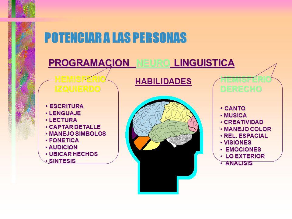 POTENCIAR A LAS PERSONAS PROGRAMACION NEURO LINGUISTICA PATRONES NEURONALES HEMISFERIOIZQUIERDO HEMISFERIODERECHO LOGICO LOGICO SECUENCIAL SECUENCIAL LINEAL LINEAL SIMBOLICO SIMBOLICO VERBAL VERBAL TEMPORAL TEMPORAL ABSTRACTO ABSTRACTO BASADO EN BASADO EN REALIDAD REALIDAD INSTUITIVO INSTUITIVO GLOBAL GLOBAL MALLA MALLA ANALOGICO ANALOGICO NO-VERBAL NO-VERBAL ATEMPORAL ATEMPORAL CONCRETO CONCRETO BASADO EN BASADO EN FANTASIA FANTASIA
