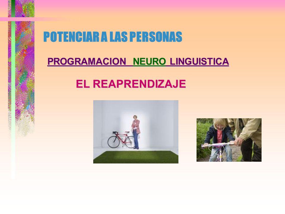 POTENCIAR A LAS PERSONAS PROGRAMACION NEURO LINGUISTICA LA EXCELENCIA EN LA COMUNICACION RAPPORTESPEJAMIENTO, ACOMPASAMIENTO) RAPPORT (ESPEJAMIENTO, ACOMPASAMIENTO) LIDERAZGO(CONDUCCION HACIA UNA META) LIDERAZGO (CONDUCCION HACIA UNA META) TRASMISION ( 55 %, 23 %, 7% Y ENTRE 10 -15% PERDIDA TRASMISION ( 55 %, 23 %, 7% Y ENTRE 10 -15% PERDIDA INTERACCION ( RESPUESTA PROVOCADA) INTERACCION ( RESPUESTA PROVOCADA) ESTRUCTURA DEL LENGUAJE ( NO CONCIENTE) ESTRUCTURA DEL LENGUAJE ( NO CONCIENTE) CRITERIOS VALORICOS ( NO SON IGUALES ) CRITERIOS VALORICOS ( NO SON IGUALES ) FOGGINS ( AFIRMACION, PREGUNTAS, FUTURO ) FOGGINS ( AFIRMACION, PREGUNTAS, FUTURO )