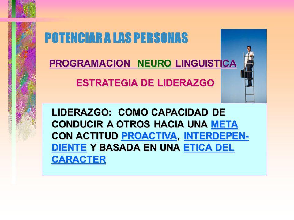 POTENCIAR A LAS PERSONAS PROGRAMACION NEURO LINGUISTICA ESTRATEGIAS DE CREATIVIDAD PROYECTAR FUTURO VIBRAR CON EL CAMBIO IMPRIMIR SELLO PROPIO
