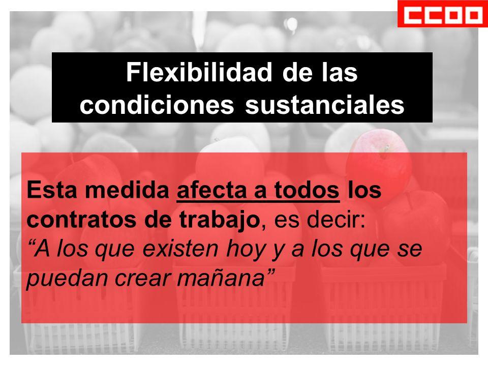 Flexibilidad de las condiciones sustanciales Esta medida afecta a todos los contratos de trabajo, es decir: A los que existen hoy y a los que se puedan crear mañana
