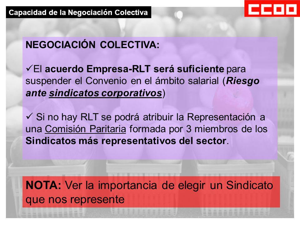 NEGOCIACIÓN COLECTIVA: El acuerdo Empresa-RLT será suficiente para suspender el Convenio en el ámbito salarial (Riesgo ante sindicatos corporativos) Si no hay RLT se podrá atribuir la Representación a una Comisión Paritaria formada por 3 miembros de los Sindicatos más representativos del sector.