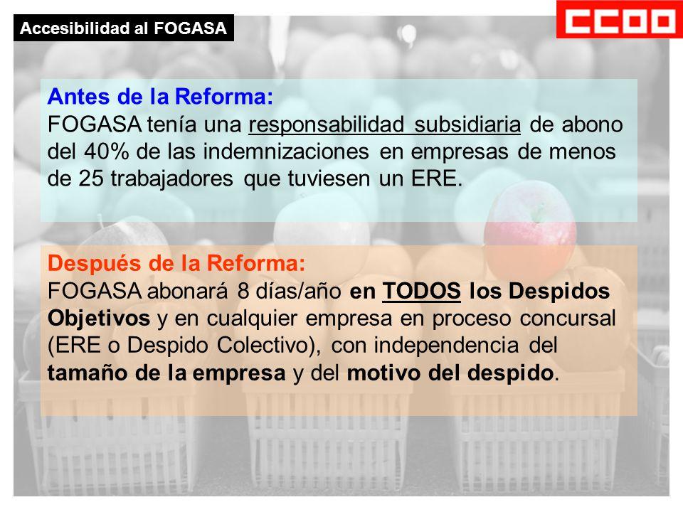 Accesibilidad al FOGASA Antes de la Reforma: FOGASA tenía una responsabilidad subsidiaria de abono del 40% de las indemnizaciones en empresas de menos de 25 trabajadores que tuviesen un ERE.