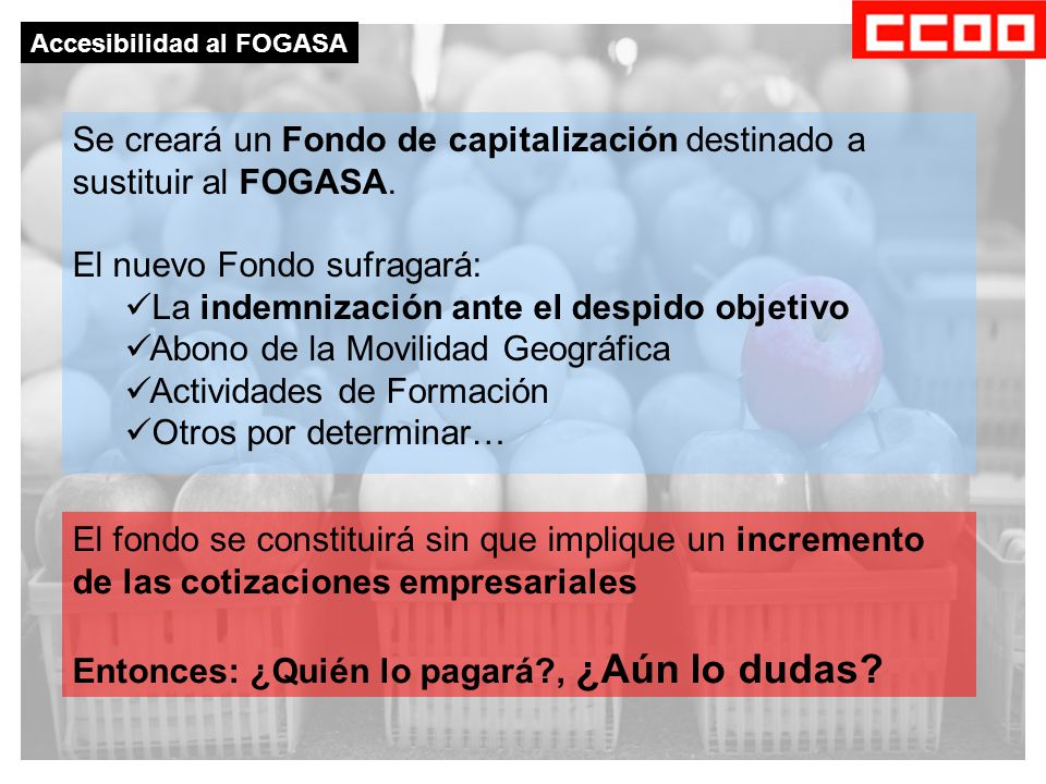 Se creará un Fondo de capitalización destinado a sustituir al FOGASA.
