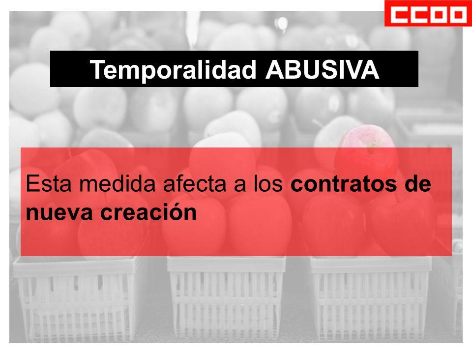 Temporalidad ABUSIVA Esta medida afecta a los contratos de nueva creación