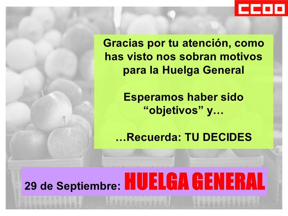 Gracias por tu atención, como has visto nos sobran motivos para la Huelga General Esperamos haber sido objetivos y… …Recuerda: TU DECIDES 29 de Septiembre: HUELGA GENERAL