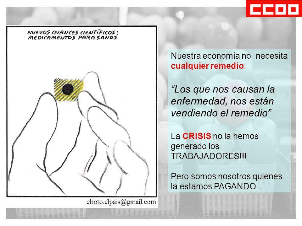 Nuestra economía no necesita cualquier remedio: Los que nos causan la enfermedad, nos están vendiendo el remedio La CRISIS no la hemos generado los TRABAJADORES!!.