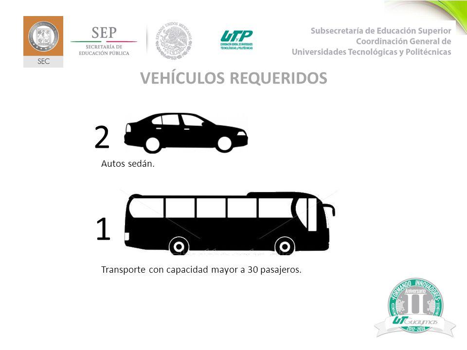 2 VEHÍCULOS REQUERIDOS 2 Autos sedán. 1 Transporte con capacidad mayor a 30 pasajeros.