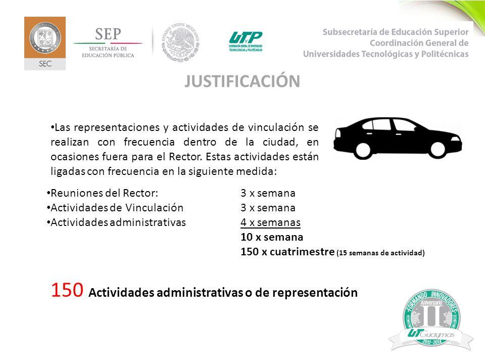 5 JUSTIFICACIÓN Las representaciones y actividades de vinculación se realizan con frecuencia dentro de la ciudad, en ocasiones fuera para el Rector.