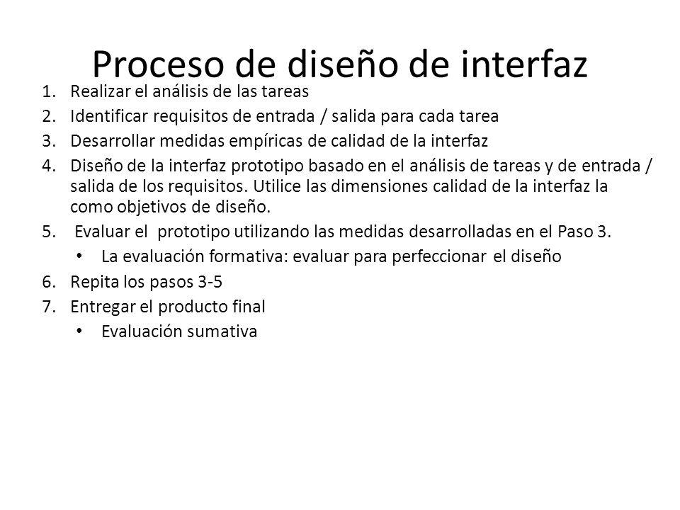 Proceso de diseño de interfaz 1.Realizar el análisis de las tareas 2.Identificar requisitos de entrada / salida para cada tarea 3.Desarrollar medidas empíricas de calidad de la interfaz 4.Diseño de la interfaz prototipo basado en el análisis de tareas y de entrada / salida de los requisitos.