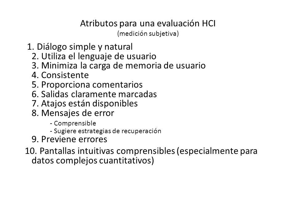 Atributos para una evaluación HCI (medición subjetiva) 1.