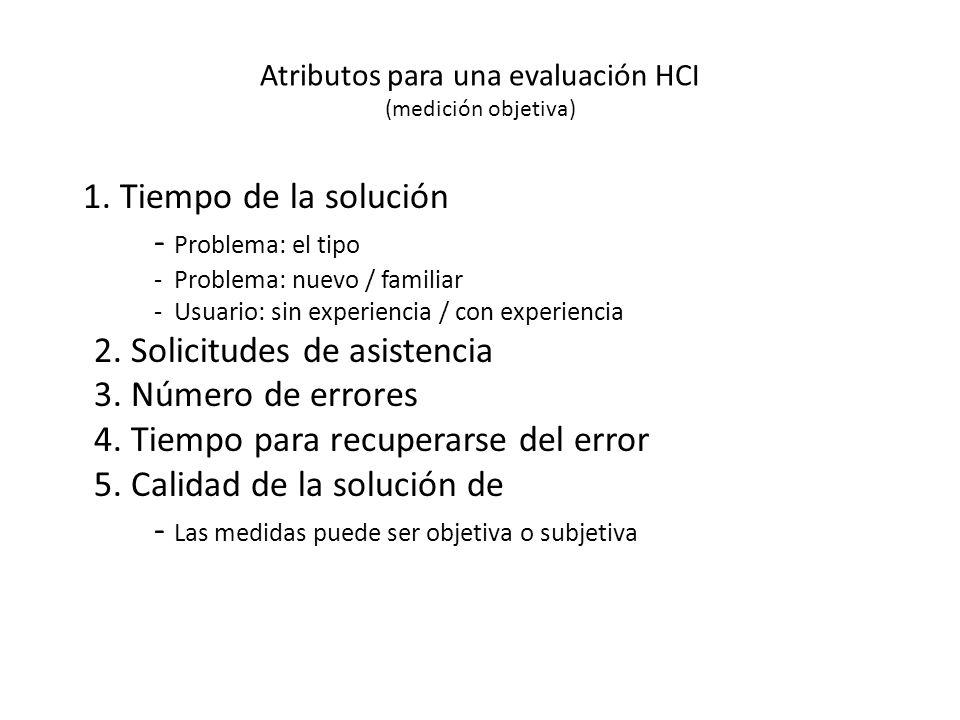 Atributos para una evaluación HCI (medición objetiva) 1.