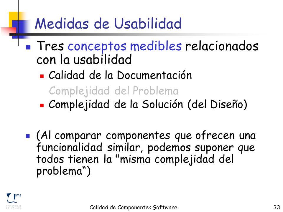 Calidad de Componentes Software33 Medidas de Usabilidad Tres conceptos medibles relacionados con la usabilidad Calidad de la Documentación Complejidad del Problema Complejidad de la Solución (del Diseño) (Al comparar componentes que ofrecen una funcionalidad similar, podemos suponer que todos tienen la misma complejidad del problema ) Complejidad del Problema