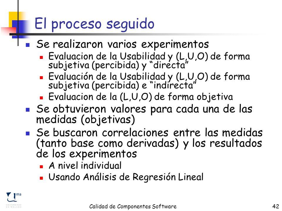 Calidad de Componentes Software42 El proceso seguido Se realizaron varios experimentos Evaluacion de la Usabilidad y (L,U,O) de forma subjetiva (percibida) y directa Evaluación de la Usabilidad y (L,U,O) de forma subjetiva (percibida) e indirecta Evaluacion de la (L,U,O) de forma objetiva Se obtuvieron valores para cada una de las medidas (objetivas) Se buscaron correlaciones entre las medidas (tanto base como derivadas) y los resultados de los experimentos A nivel individual Usando Análisis de Regresión Lineal