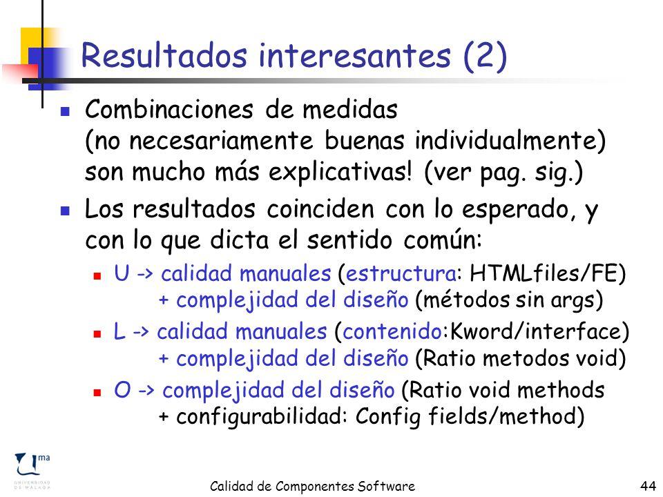 Calidad de Componentes Software44 Resultados interesantes (2) Combinaciones de medidas (no necesariamente buenas individualmente) son mucho más explicativas.